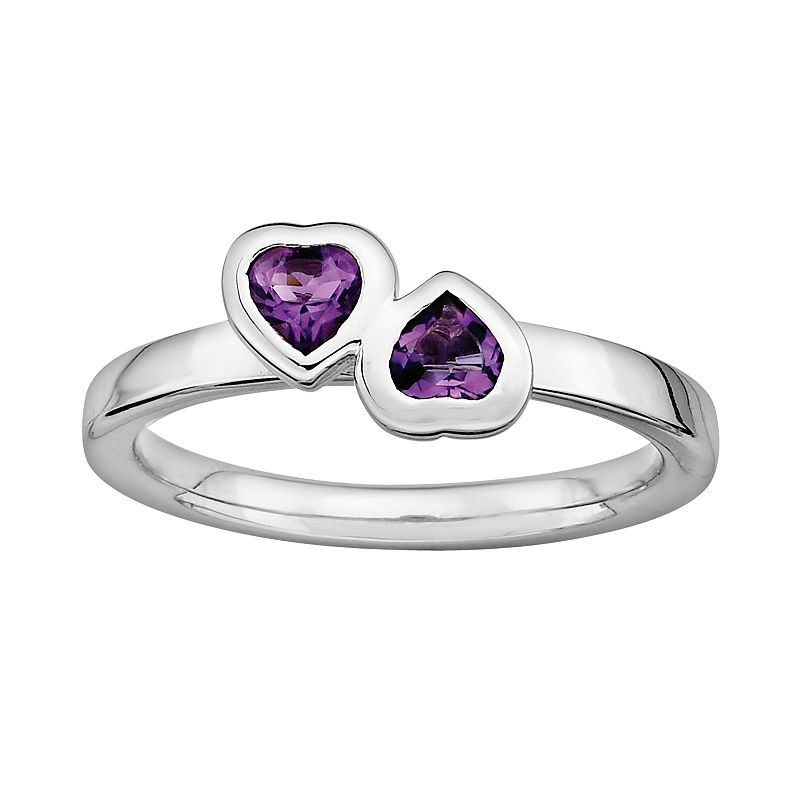 Stacks and Stones Sterling Silver Amethyst Heart Stack Ring