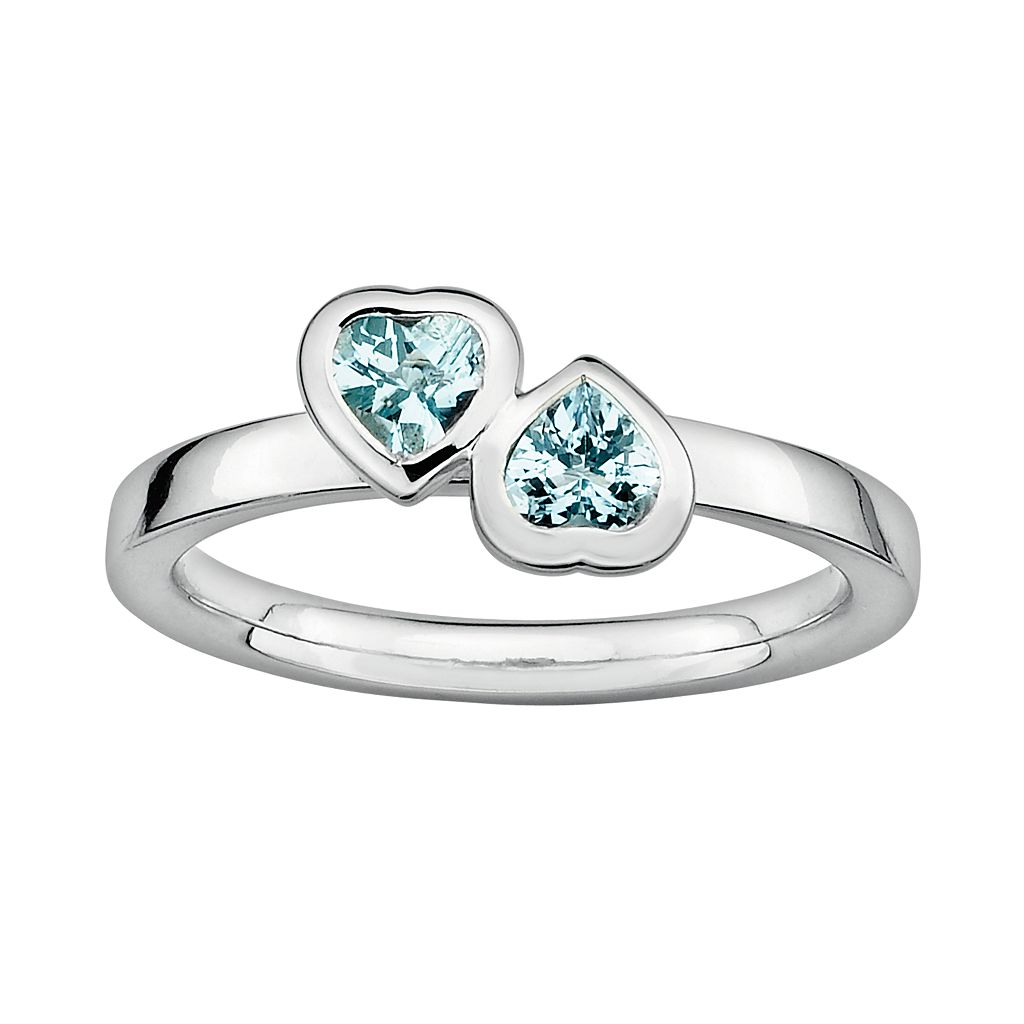 Stacks & Stones Sterling Silver Aquamarine Heart Stack Ring