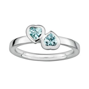 Stacks and Stones Sterling Silver Aquamarine Heart Stack Ring