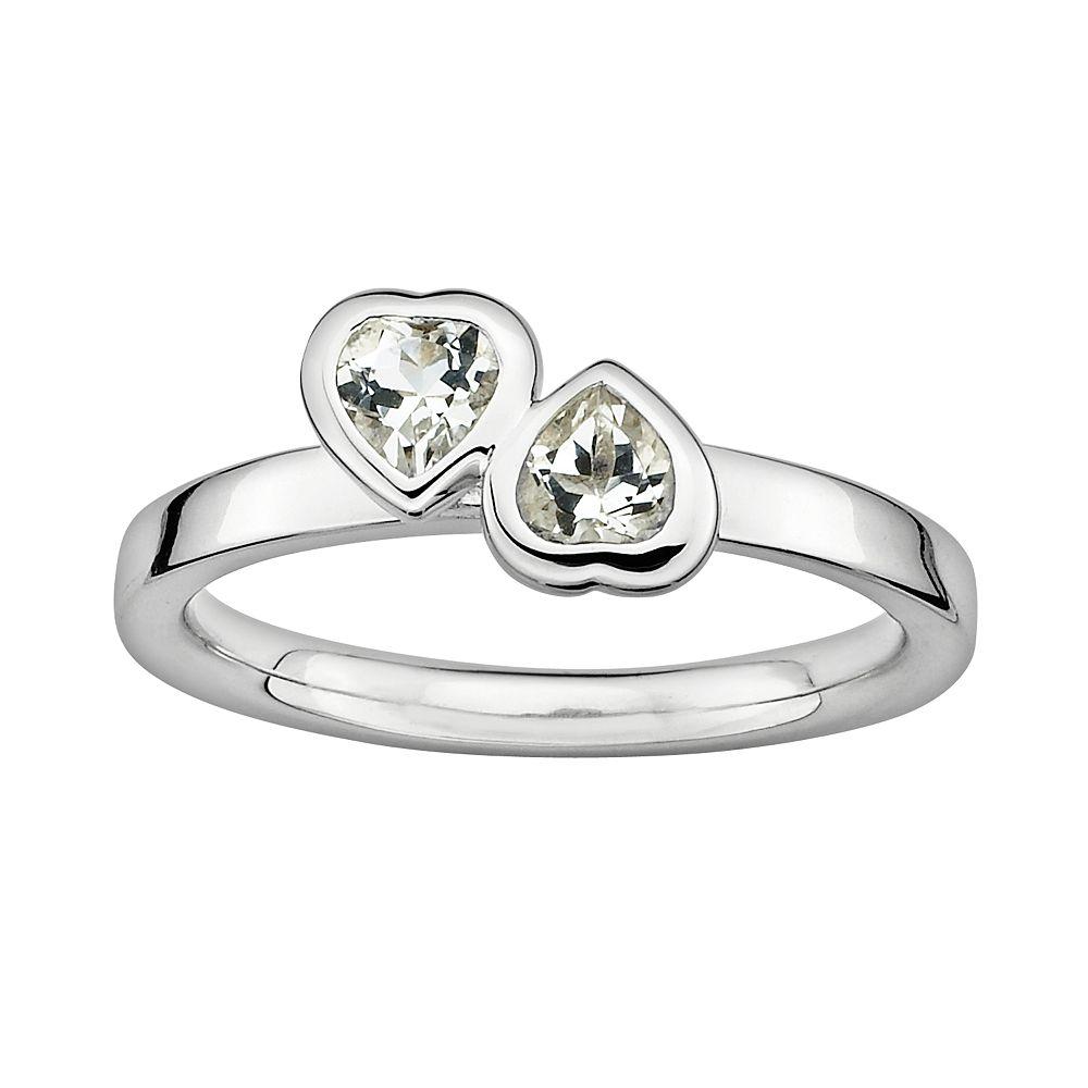 Stacks & Stones Sterling Silver White Topaz Heart Stack Ring