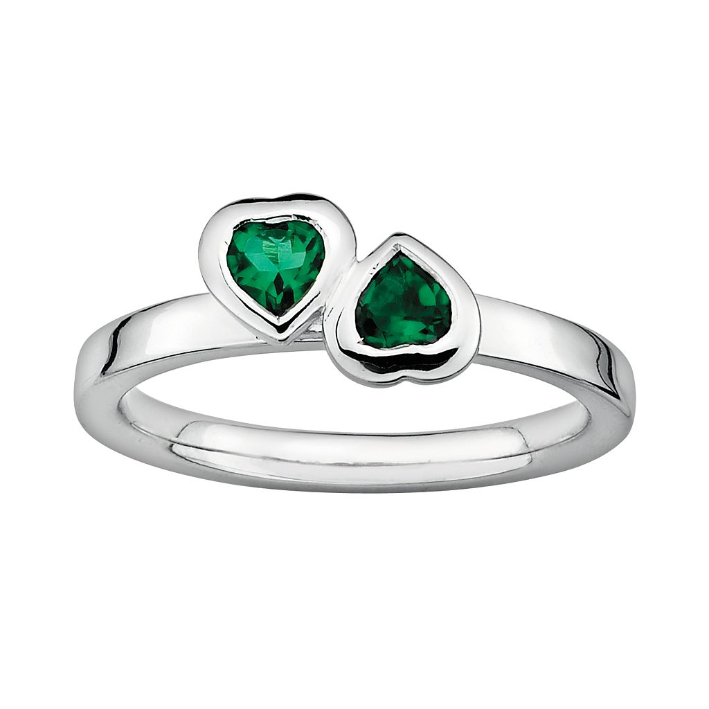 Stacks & Stones Sterling Silver Lab-Created Emerald Heart Stack Ring