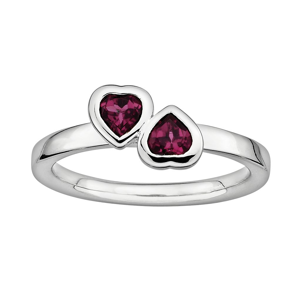 Stacks & Stones Sterling Silver Rhodolite Garnet Heart Stack Ring
