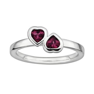 Stacks and Stones Sterling Silver Rhodolite Garnet Heart Stack Ring