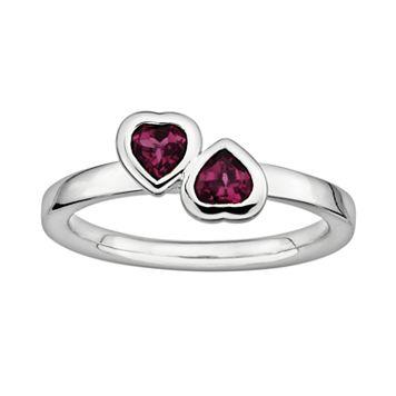 Stacks & Stones Sterling Silver Rhodolite Garnet Heart Stack Ring