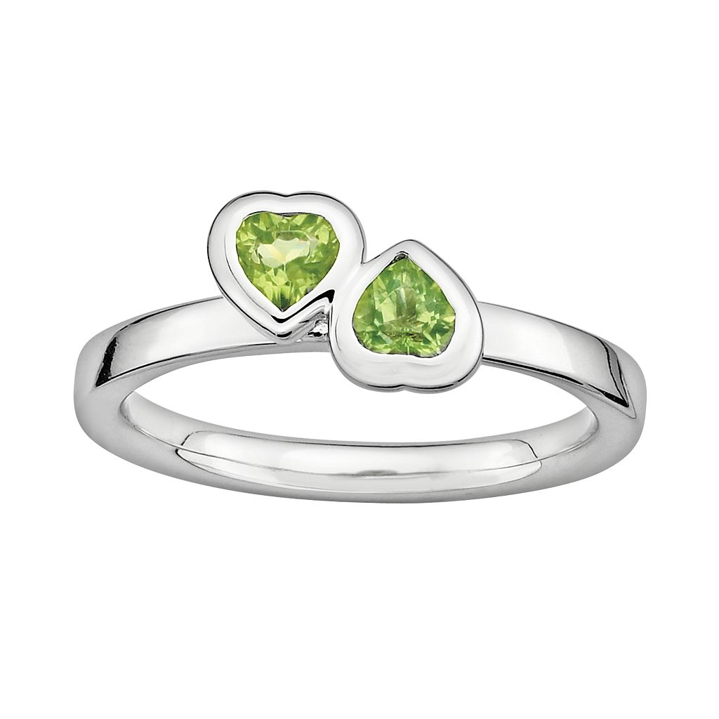 Stacks & Stones Sterling Silver Peridot Heart Stack Ring