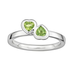 Stacks and Stones Sterling Silver Peridot Heart Stack Ring