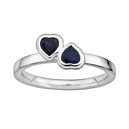 Stacks and Stones Sterling Silver Lab-Created Sapphire Heart Stack Ring