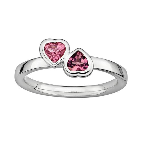 Stacks & Stones Sterling Silver Pink Tourmaline Heart Stack Ring