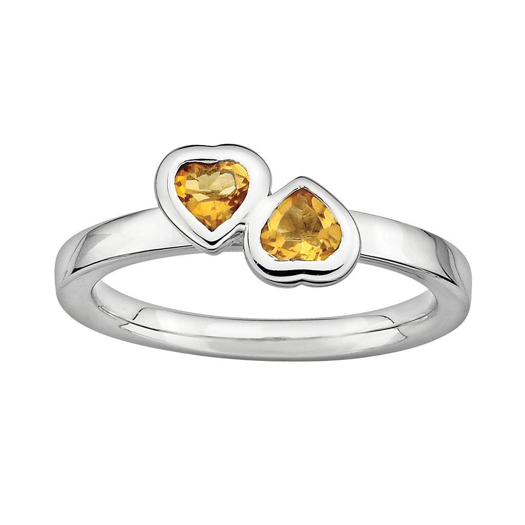 Stacks & Stones Sterling Silver Citrine Heart Stack Ring