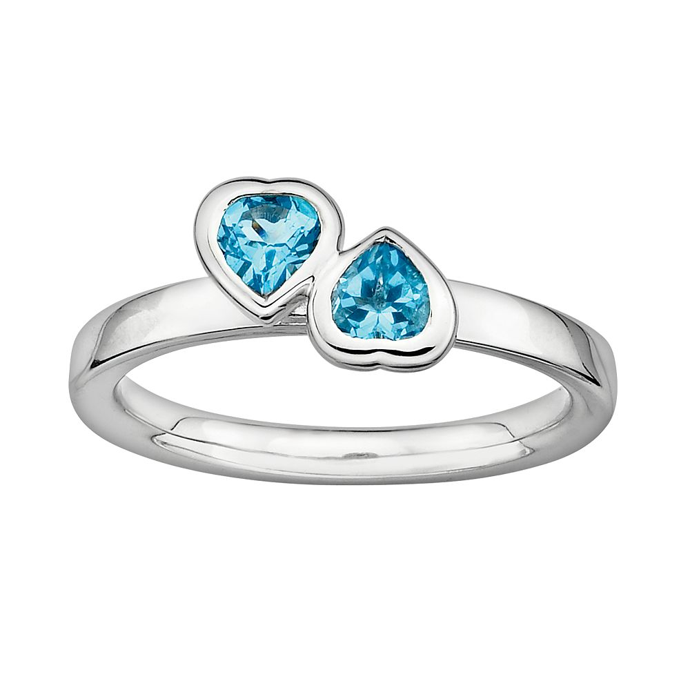 Stacks & Stones Sterling Silver Blue Topaz Heart Stack Ring