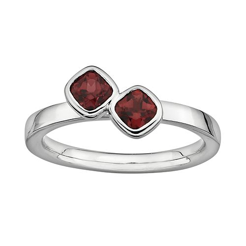 Stacks & Stones Sterling Silver Garnet Stack Ring