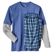 Hanes Mock-Layer Tee and Plaid Microfleece Lounge Pants