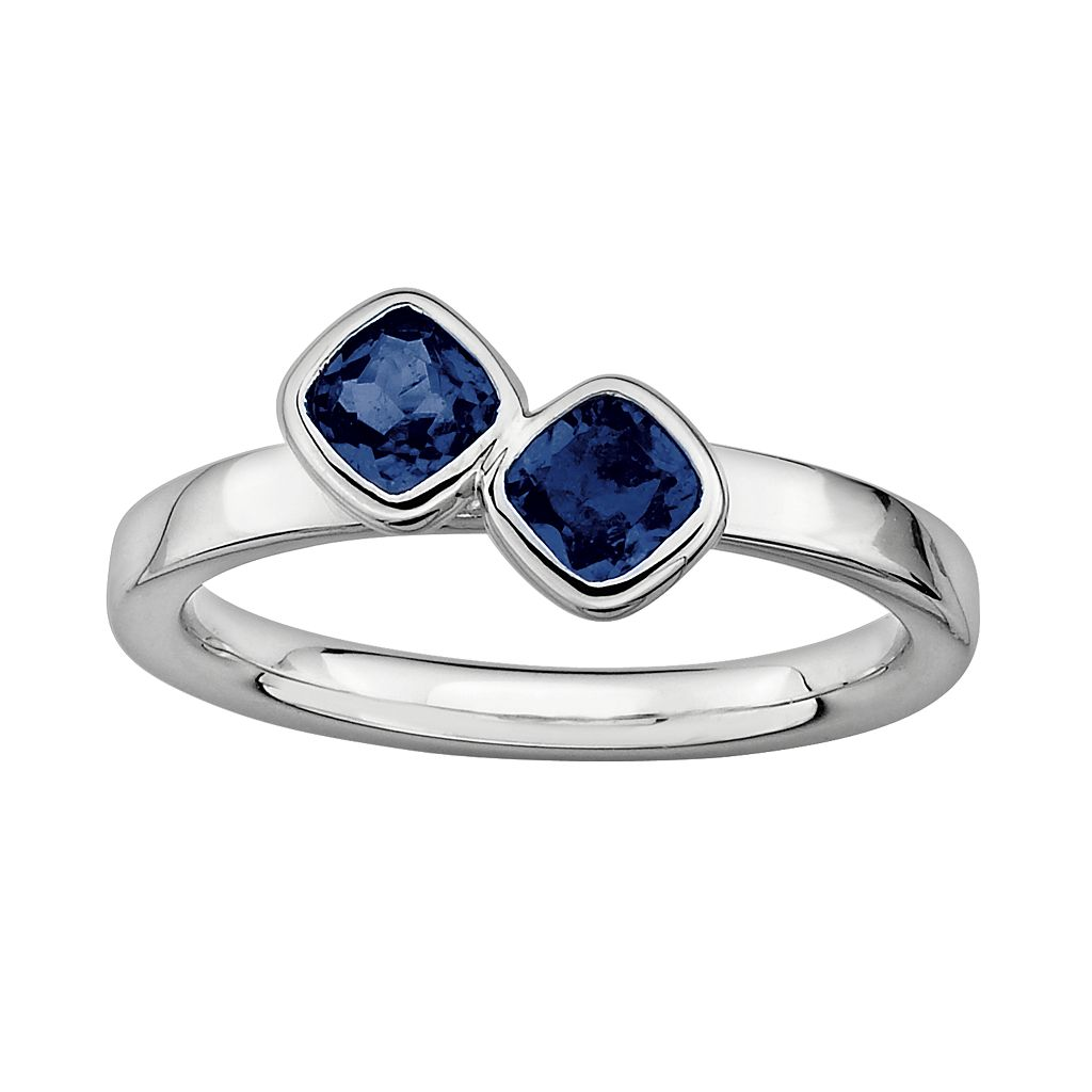 Stacks & Stones Sterling Silver Lab-Created Sapphire Stack Ring