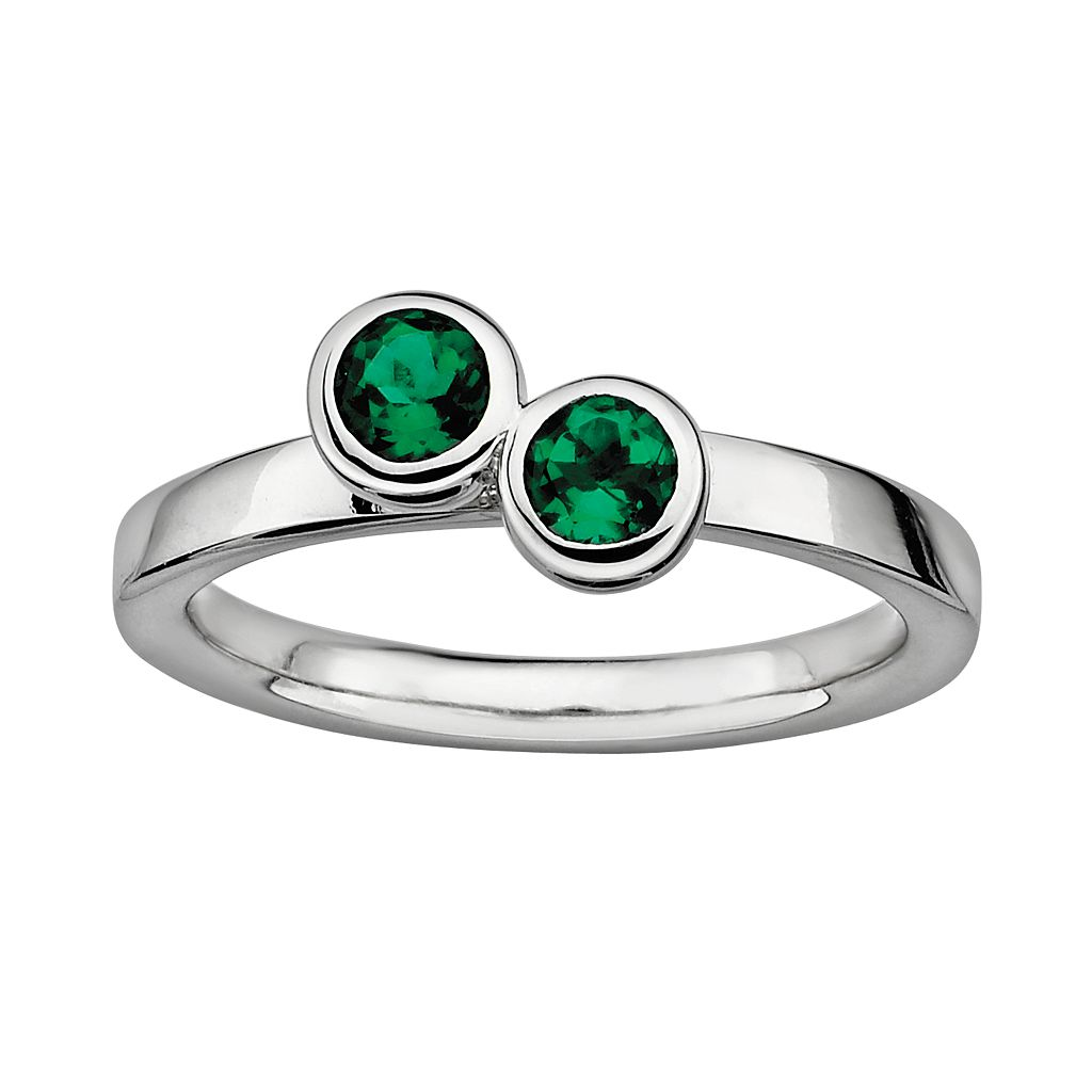 Stacks & Stones Sterling Silver Lab-Created Emerald Stack Ring
