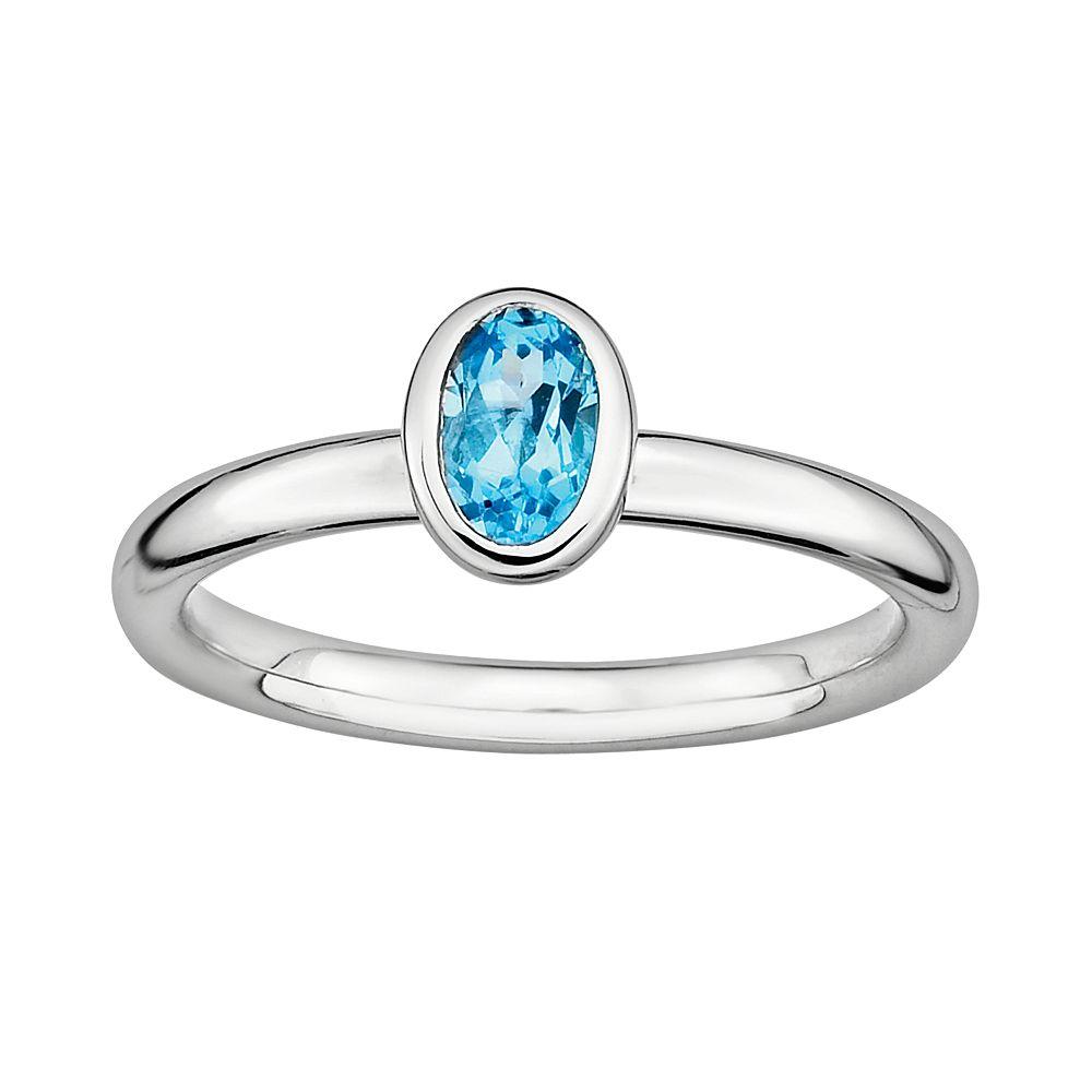 Stacks & Stones Sterling Silver Blue Topaz Stack Ring