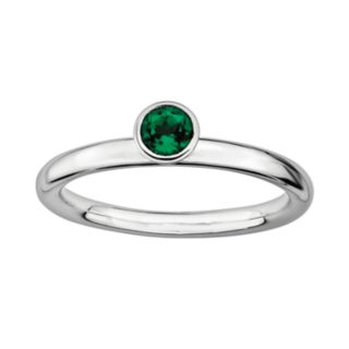 Stacks and Stones Sterling Silver Lab-Created Emerald Stack Ring