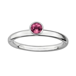 Stacks and Stones Sterling Silver Pink Tourmaline Stack Ring