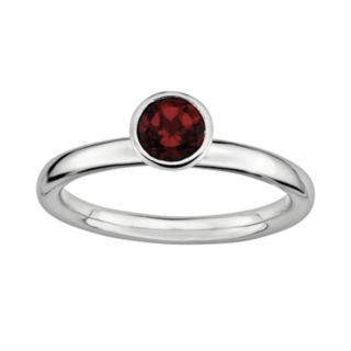 Stacks and Stones Sterling Silver Garnet Stack Ring