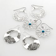 SO Silver Tone Flower Filigree Drop Earring Set