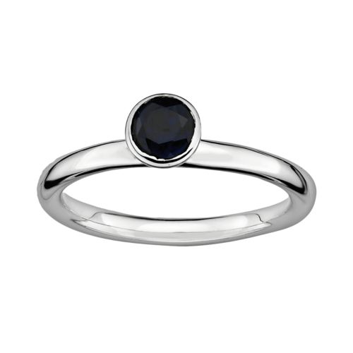 Stacks and Stones Sterling Silver Lab-Created Sapphire Stack Ring