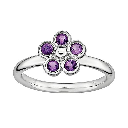 Stacks & Stones Sterling Silver Amethyst Flower Stack Ring