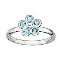 Stacks & Stones Sterling Silver Blue Topaz Flower Stack Ring