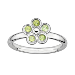 Stacks and Stones Sterling Silver Peridot Flower Stack Ring