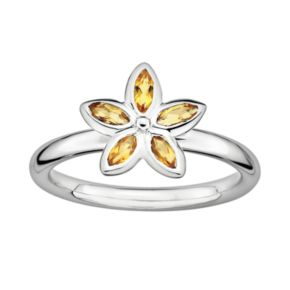 Stacks and Stones Sterling Silver Citrine Flower Stack Ring