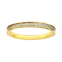 Stacks & Stones 18k Gold Over Silver 1/5 ctT.W. Diamond Stack Ring