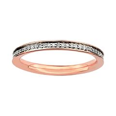 Stacks & Stones 18k Rose Gold Over Silver 1/5 ctT.W. Diamond Stack Ring