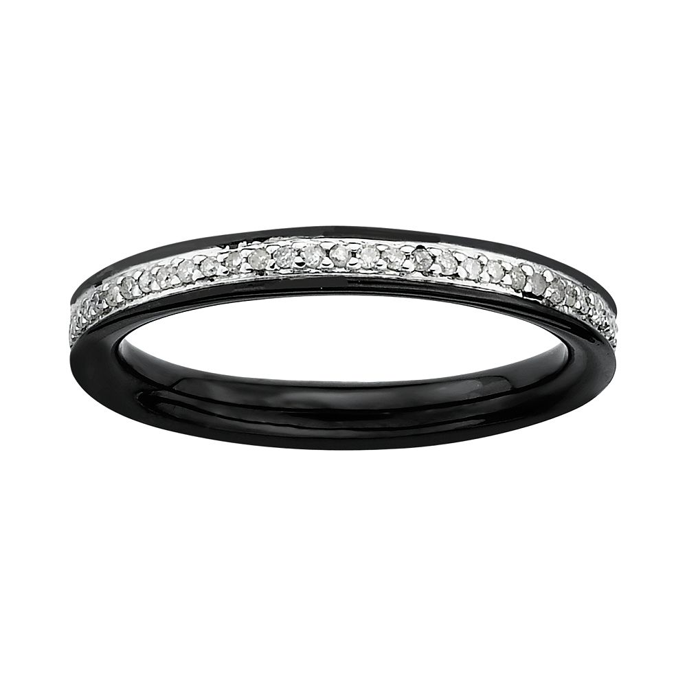 Stacks & Stones Ruthenium-Plated Sterling Silver 1/5-ct. T.W. Diamond Stack Ring