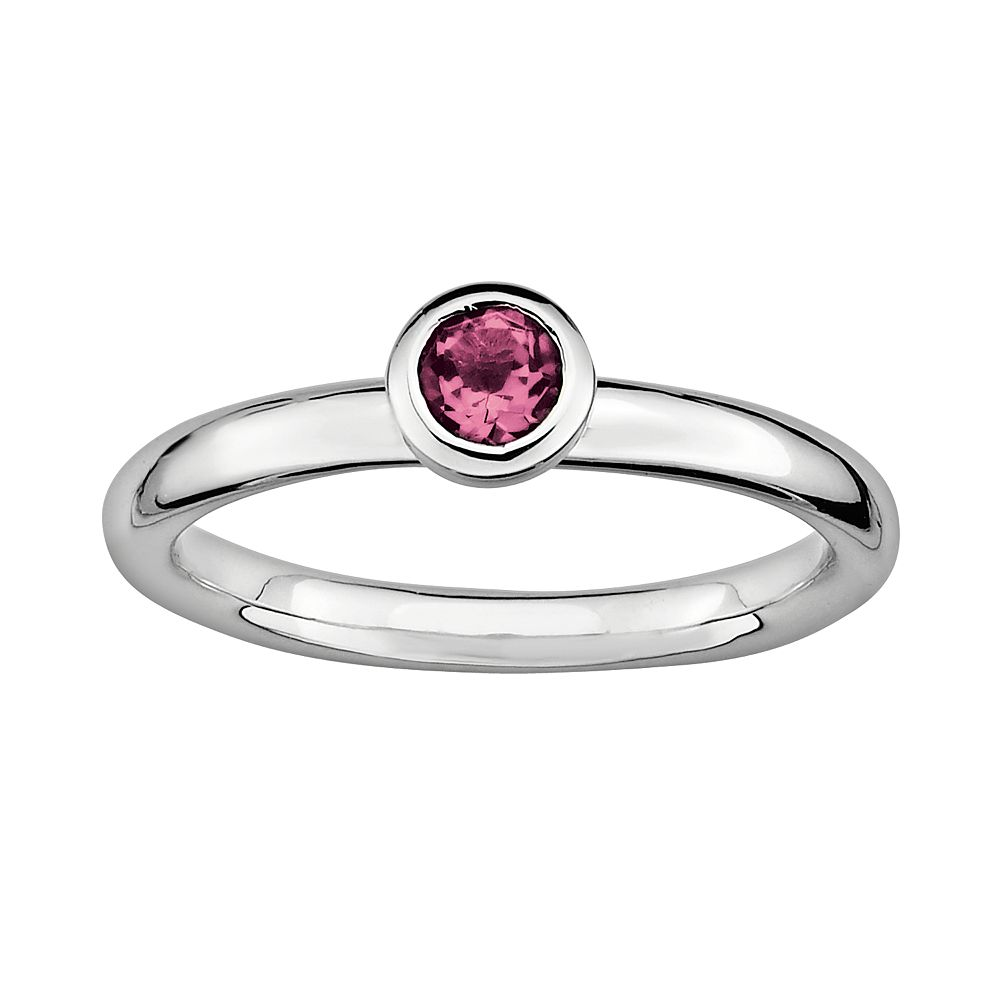 Stacks & Stones Sterling Sterling Silver Pink Tourmaline Stack Ring