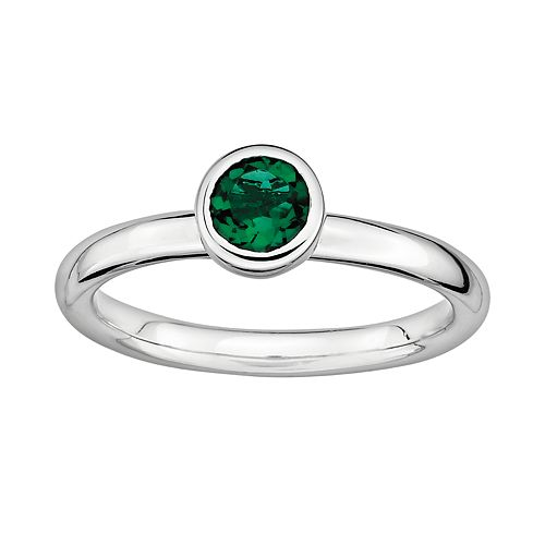 Stacks & Stones Sterling Sterling Silver Lab-Created Emerald Stack Ring