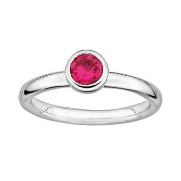 Stacks & Stones Sterling Sterling Silver Lab-Created Ruby Stack Ring
