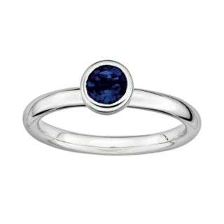 Stacks and Stones Sterling Sterling Silver Lab-Created Sapphire Stack Ring