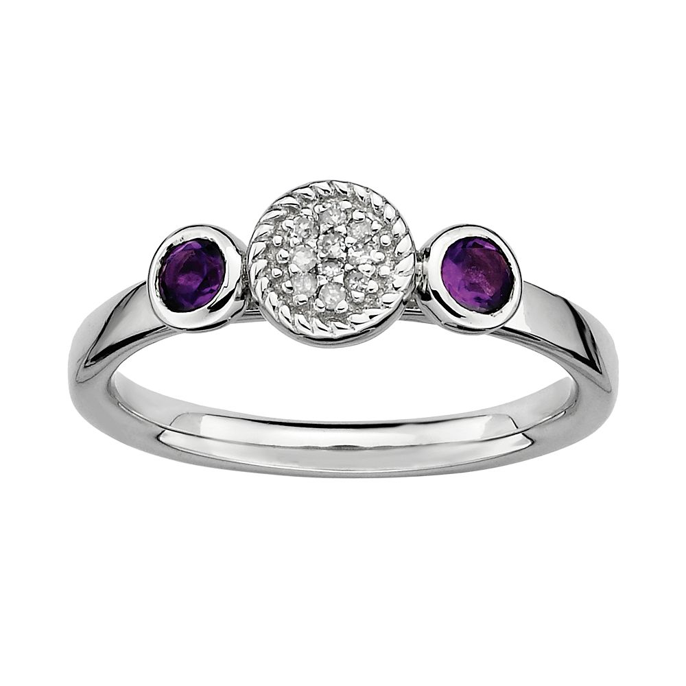 Stacks & Stones Sterling Sterling Silver Amethyst & Diamond Accent Stack Ring