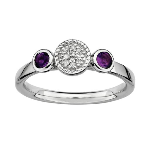 Stacks and Stones Sterling Sterling Silver Amethyst and Diamond Accent Stack Ring