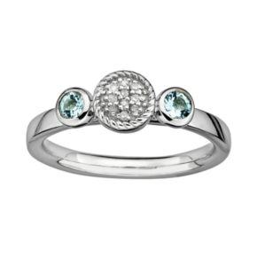 Stacks and Stones Sterling Sterling Silver Aquamarine and Diamond Accent Stack Ring