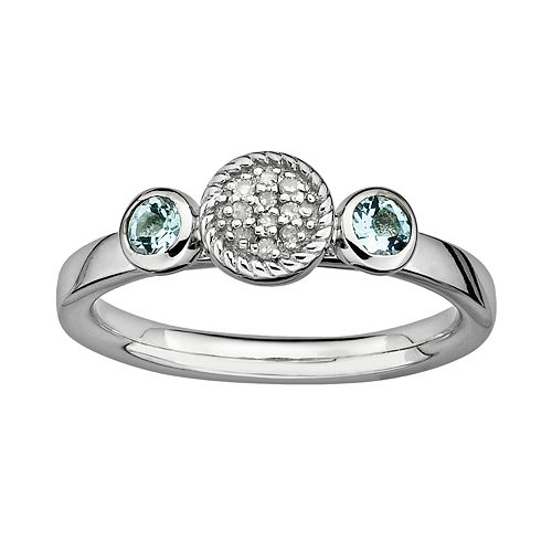 Stacks & Stones Sterling Sterling Silver Aquamarine & Diamond Accent Stack Ring