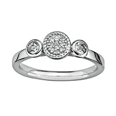Stacks & Stones Sterling Sterling Silver White Topaz & Diamond Accent Stack Ring