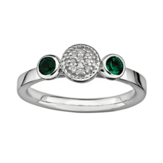 Stacks and Stones Sterling Sterling Silver Lab-Created Emerald and Diamond Accent Stack Ring