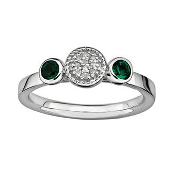Stacks & Stones Sterling Sterling Silver Lab-Created Emerald & Diamond Accent Stack Ring