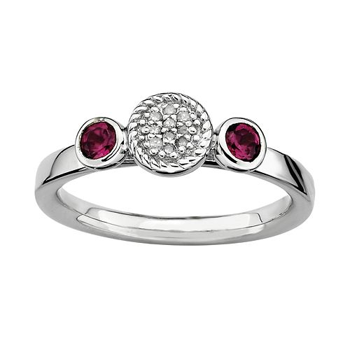 Stacks & Stones Sterling Sterling Silver Rhodolite Garnet & Diamond Accent Stack Ring