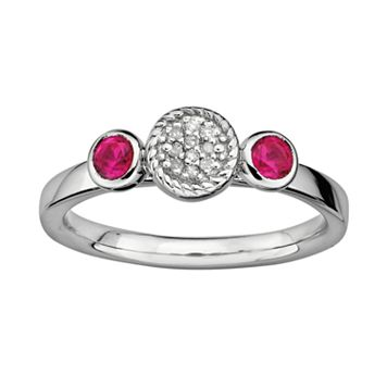 Stacks & Stones Sterling Sterling Silver Lab-Created Ruby & Diamond Accent Stack Ring