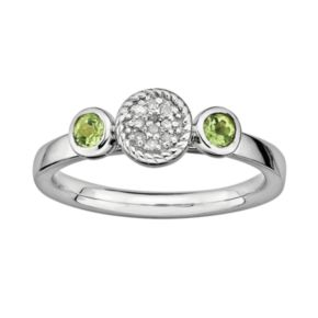 Stacks and Stones Sterling Sterling Silver Peridot and Diamond Accent Stack Ring