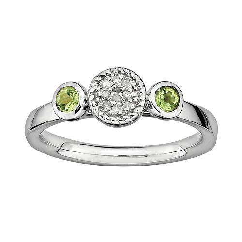 Stacks & Stones Sterling Sterling Silver Peridot & Diamond Accent Stack Ring