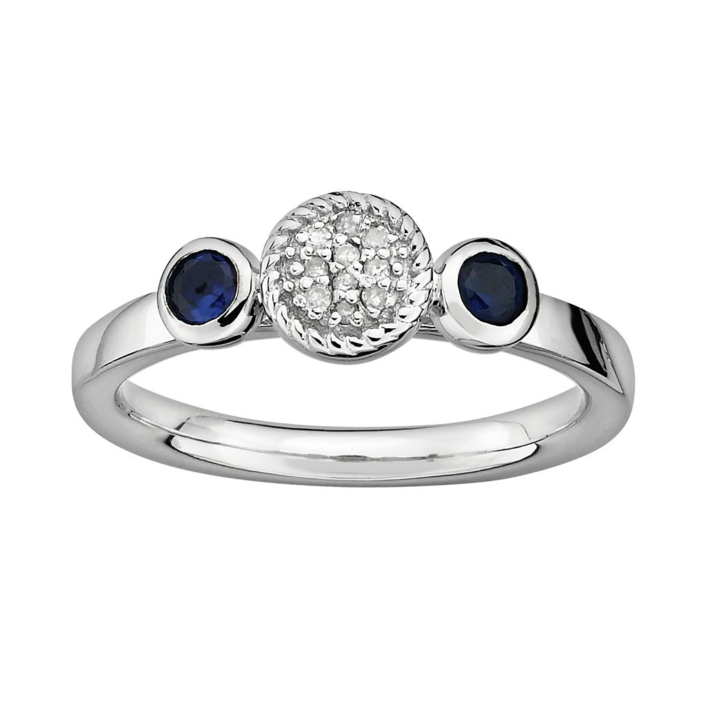 Stacks & Stones Sterling Sterling Silver Lab-Created Sapphire & Diamond Accent Stack Ring