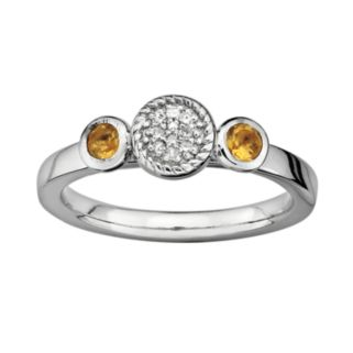Stacks and Stones Sterling Silver Citrine and Diamond Accent Stack Ring