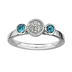 Stacks & Stones Sterling Silver Blue Topaz & Diamond Accent Stack Ring