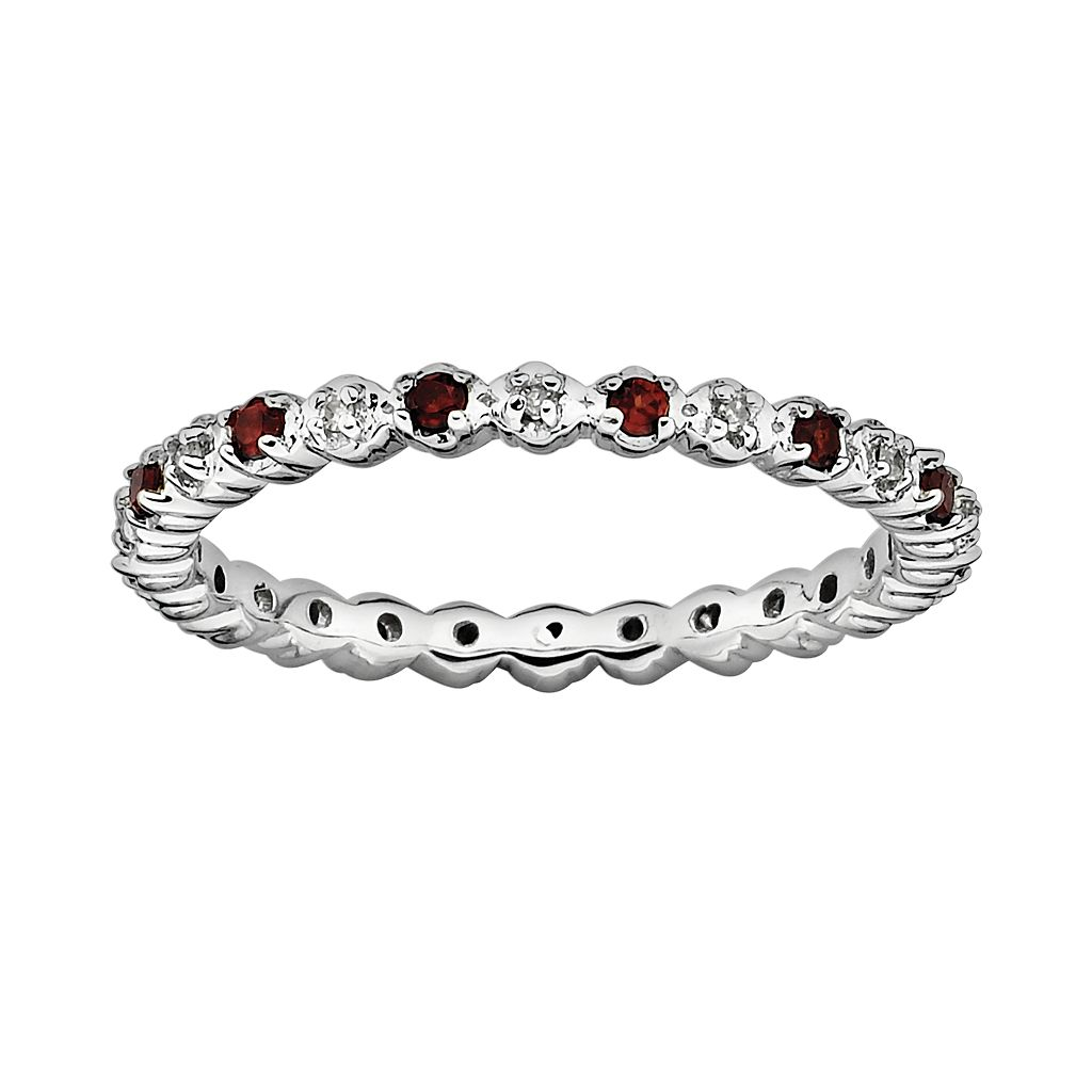 Stacks & Stones Sterling Silver Garnet & Diamond Accent Stack Ring